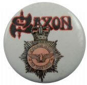 Saxon - 'Strong Arm of the Law' Button Badge